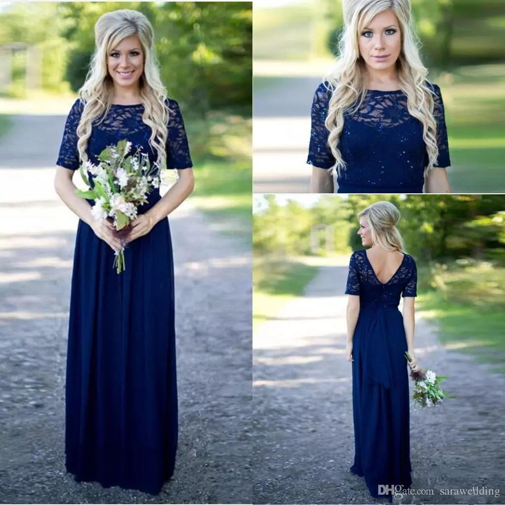 Navy blue country style bridesmaid dresses long 2018 short sleeve navy blue country style bridesmaid dresses long 2018 short sleeve vintage lace a line chiffon beach bridesmaid dresses maid of honor gowns claret bridesmaid ombrellifo Image collections
