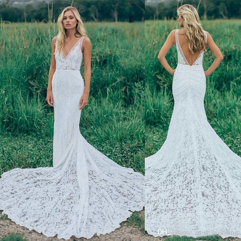 Full Lace Bohemian Wedding Dresses Mermaid Deep V Neck Backless Boho ...