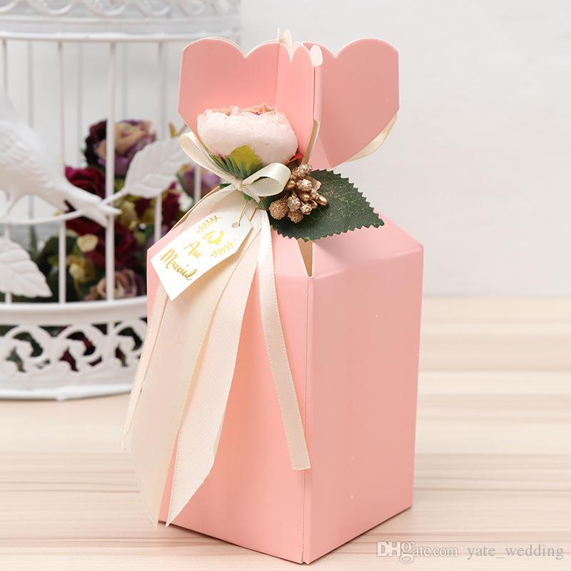 Newest Vase Mermaid Wedding Candy Boxes With Peony Flowers Christmas Party Wedding Favor Boxes Paper Boxes Gifts Red Pink Purple Blue Strips