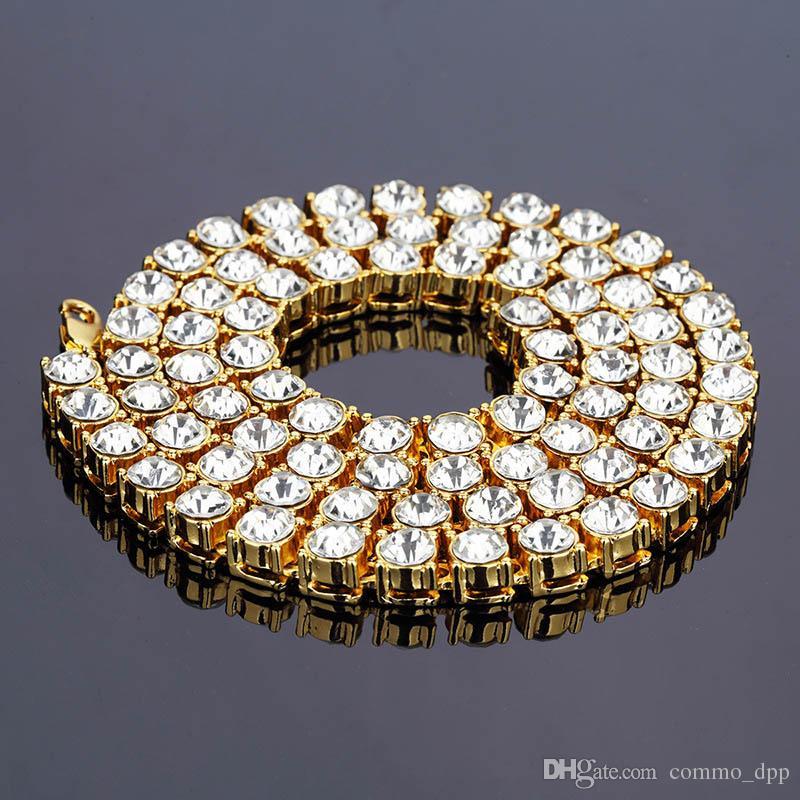 bf52f9d72d796 Bijoux de mode Hip Hop mens chaîne glacée Colliers 8MM cristal diamant  unique rangée Sliver plaqué or chaîne noire avec boîte cadeau élégante