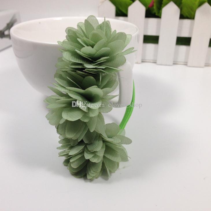 Şifon Çiçekler Çocuk Bebek Kız Şapkalar Saç Aksesuarları Kauçuk Bantları Tokalarım Kız Yay Saç Halatlar Toptan Butik