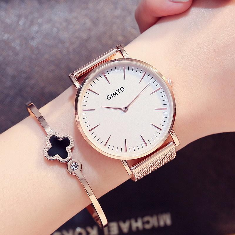 Gimto Simple Fashion Weave Stainless Steel Rose Gold Watch Women ...