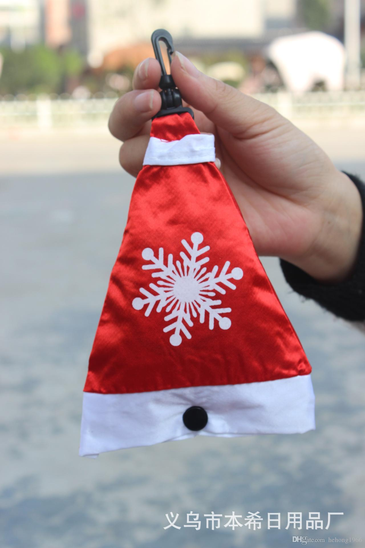 Shopping Bag Christmas Series Fold Environmental Protection Kit Hat Bells Gloves Socks Four Sets Snowflake Portable Storage Bags 2 9bx R