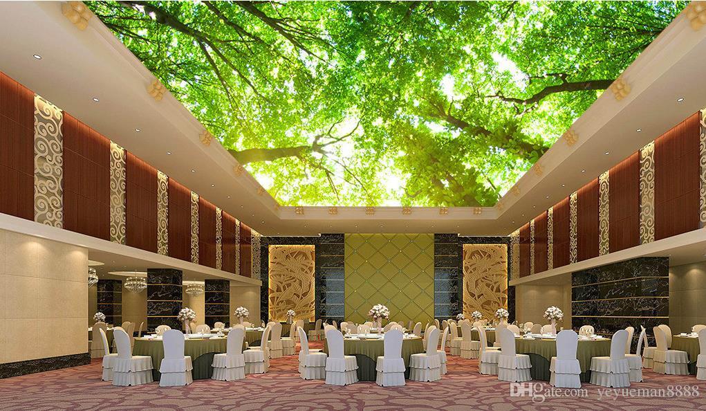 Groshandel Benutzerdefinierte Tapete Fur Decken Kreative Sunny Tree Green D Foto Deckentapete Fur Wohnzimmer D Decke Wandbilder Tapete Von Yeyueman