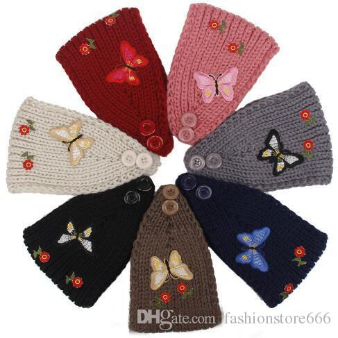Knitted Turban Headwrap Embroidery Butterfly Flowers Crochet Headband Hair Accessories
