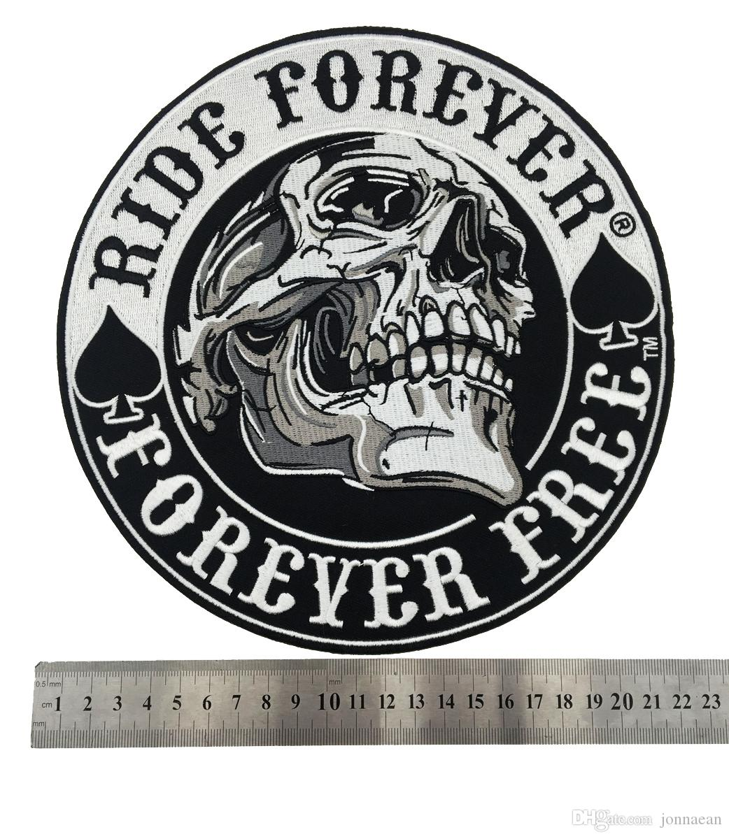 """NEW ARRIVAL Large Ride Forever Free Embroidered Motorcycle Patch Back MC Biker Jacket Vest 9 """" Leather Patch"""