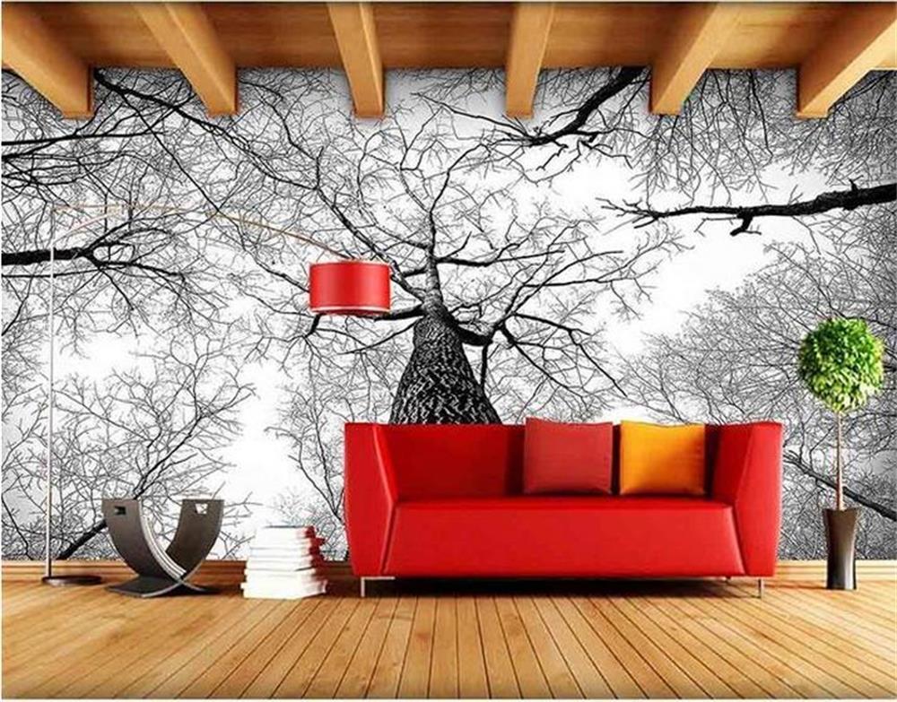 Wholesale- custom HD 3D photo Non-Woven wallpaper murals Europe large tree  sky black white photo sofa TV background Hotel bedroom kids room