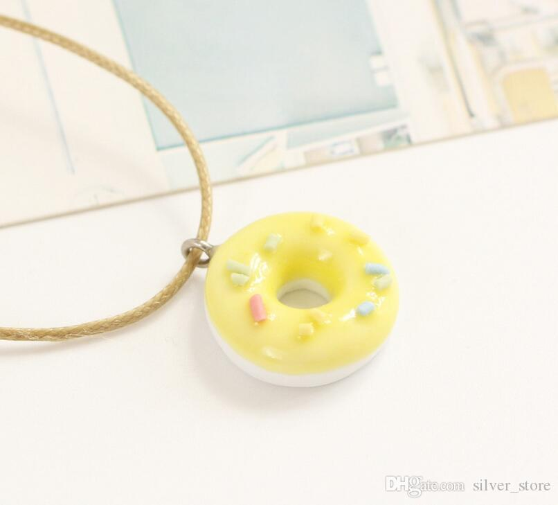 Good A++ Donut small fresh girlfriend necklace cartoon clavicle chain simple jewelry ceramic WFN500 with chain a