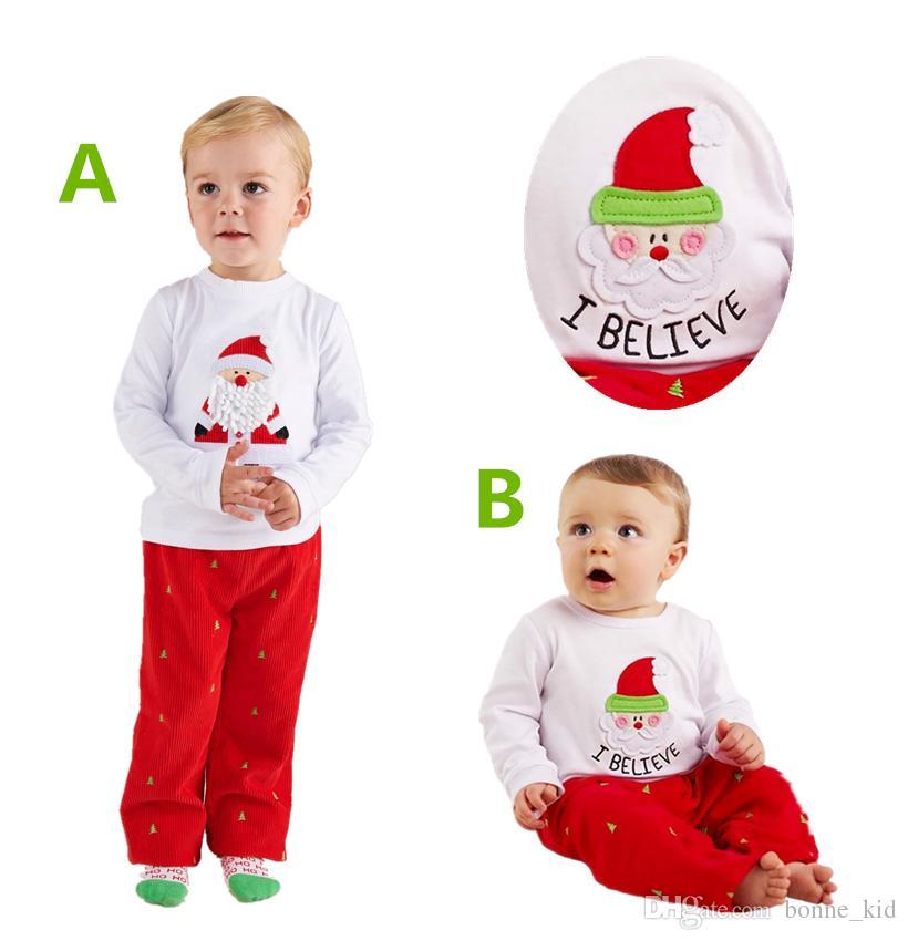 40cbf75618bf 2019 Christmas Outfit Cute Santa Tops+Pants Kid Suit Baby Boy Girl ...