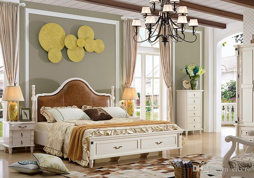 Leather Coffee Color Solid Wood American Design Antique Bedroom