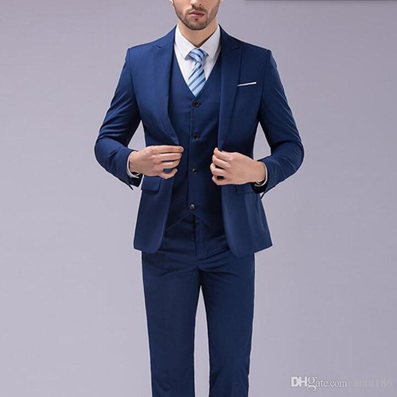 Mais recente projeto homens ternos moda elegante homens ternos de casamento smoking lapela azul um botão ternos formal de negócios jaqueta + colete + calças