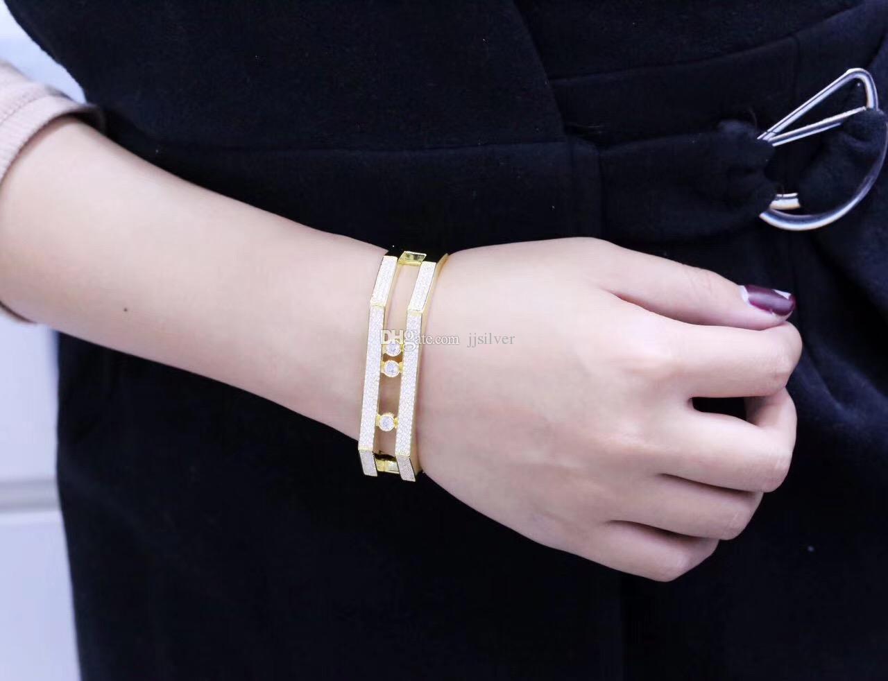 Luxury Zircon 925 Sterling Silver Running Stone Bangle white gold Plated Women Created Bridal Wedding Jewelry