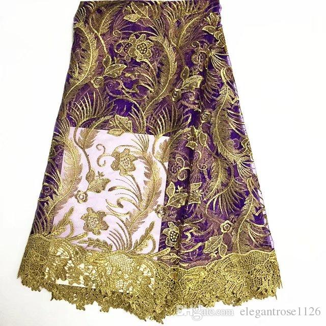 African Tulle Lace Fabric 2017 African French Lace Fabric High Quality With Stones Nigerian Embroidery Tulle French Lace GYNL09