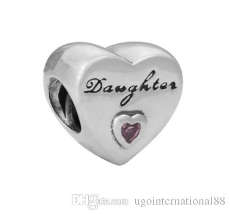 Fits Pandora Bracelets Daughter Heart Silver Charm Bead Loose Beads For Wholesale Diy European Sterling Necklace Jewelry Xmas