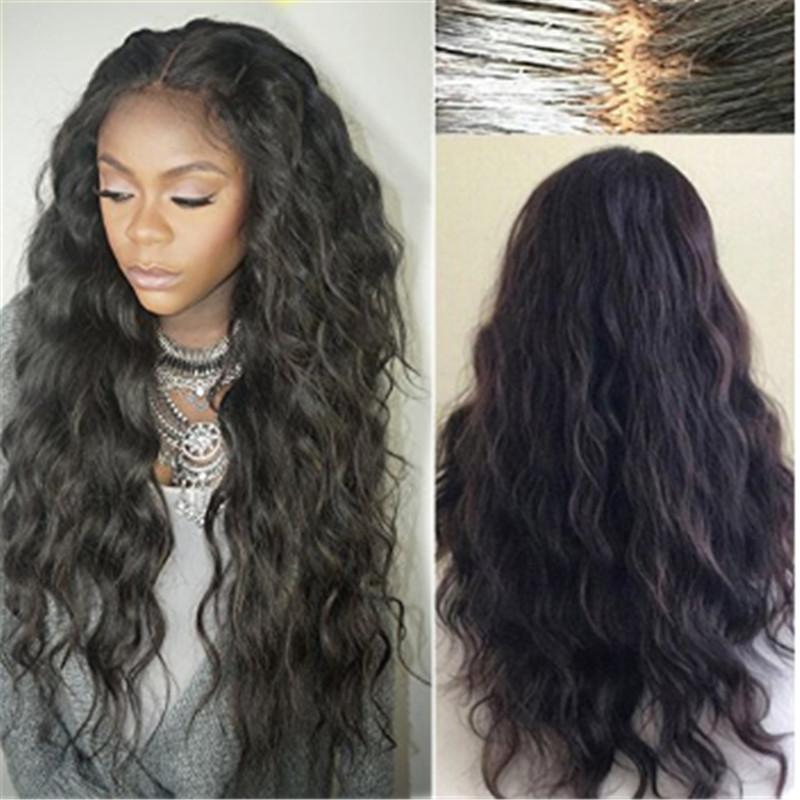 Super Soft 8A Unprocessed Brazilian Indian human hair Natural Loose Wave Glueless lace Front wigs for black women
