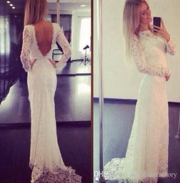 Lange mouw full lace fitted prom dress illusion nek v back elegante receptie jurken avond feestkleding met sweep trein goedkope hoge kwaliteit