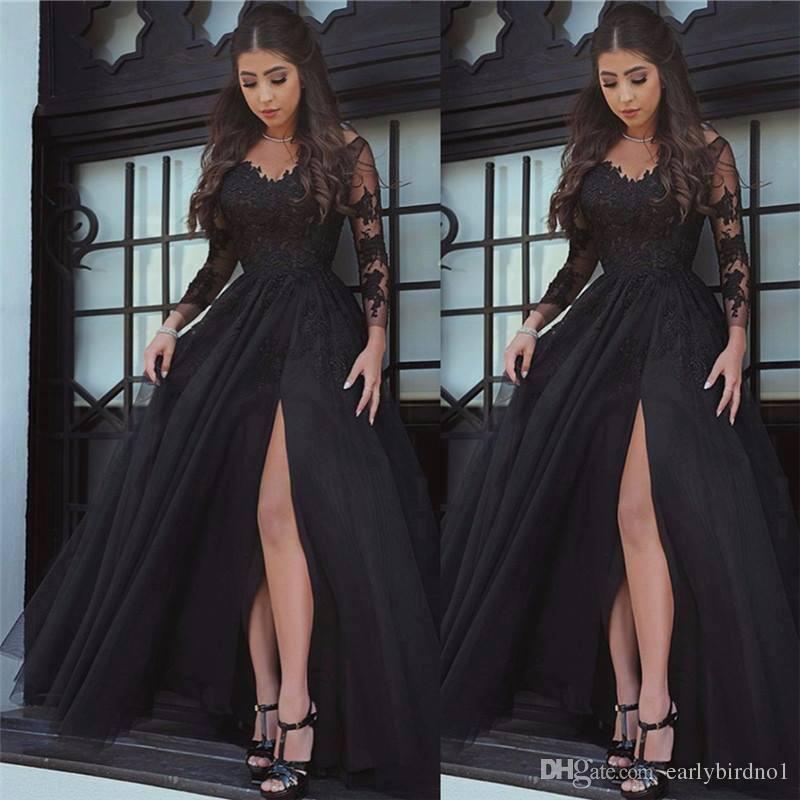 2018 New Glamorous Sexy Black maniche lunghe Prom Dresses Front Split Floor Length Abiti da sera Wear Cheap