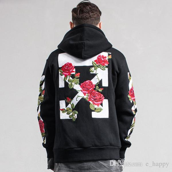 Off-White CO Hoodie Varsity Jacket Men Women Rose Arrows Print Zip Hoodies  Black Fleece Sweatshirt Cardigan Coat YBG0905