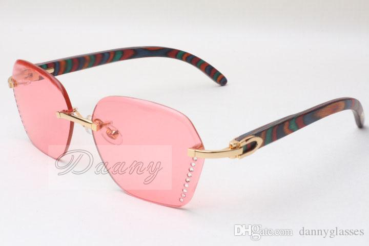 diamant chaud des lunettes de soleil sans fin 8200728 Lunettes de soleil mode haute qualité des lunettes en bois Peacock couleur Taille: 58-18-135mm
