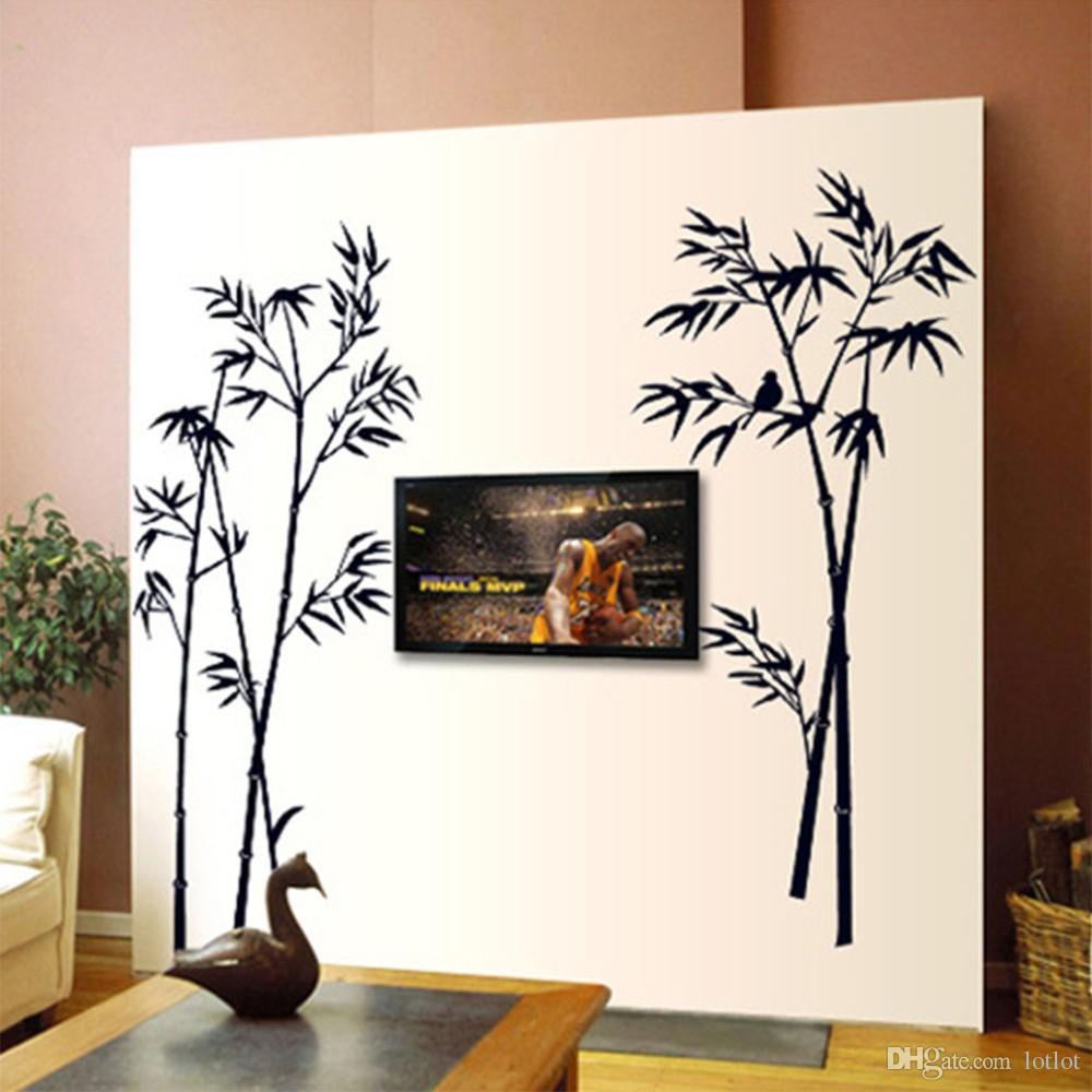 90 * 60cm Stickers muraux en bambou Mur de fond en bambou Mur décoratif en bambou Oiseau Le salon chambre étude autocollants décoratifs
