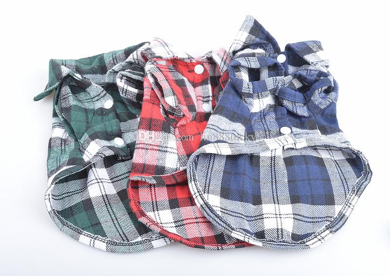 Pet Supplies Clothes Puppy Dog Vests T Shirt Apparel Costume plaid checker Soft pets dogs cats T Shirt