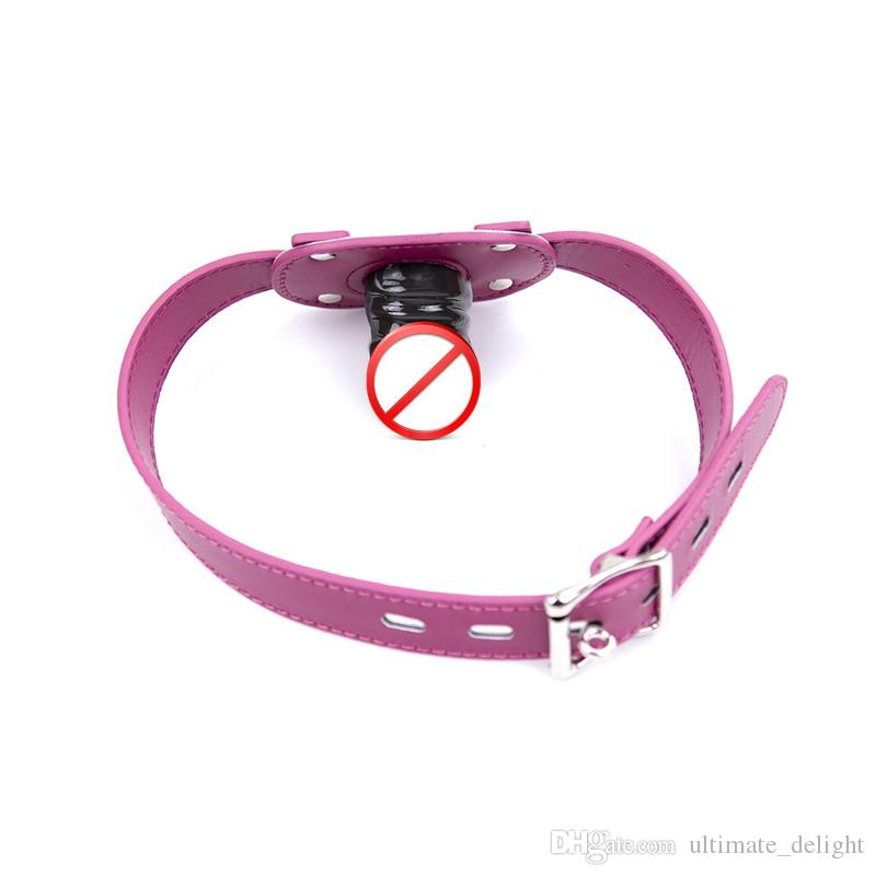 Pink Silicone Dildo Gag Oral Sex Penis Mouth Plug Penis Gag With Locking Buckles Leather Bondage Sex Products For Couples