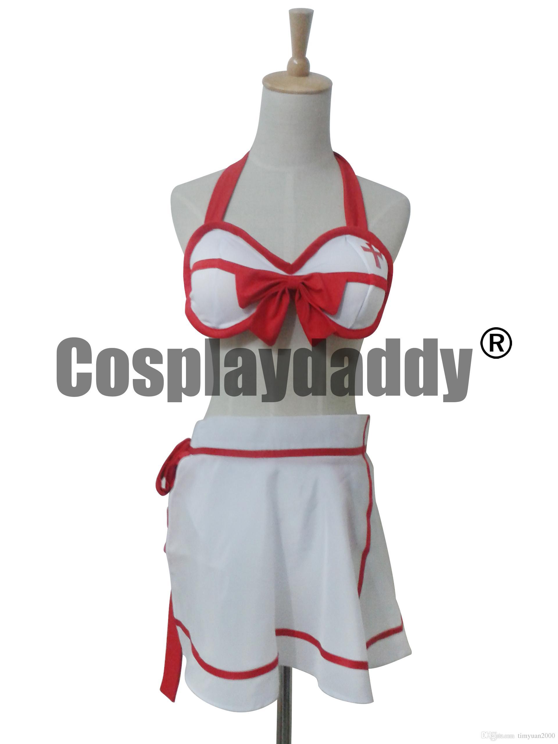섹시한 비키니 소드 아트 ALO Asuna Yuuki Cosplay Costume Swimwear