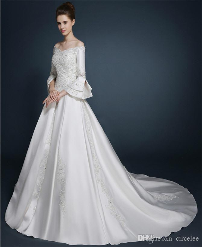 2016 Long Sleeve Sexy Wedding Dresses Bateau Satin Elegant Bridal ...