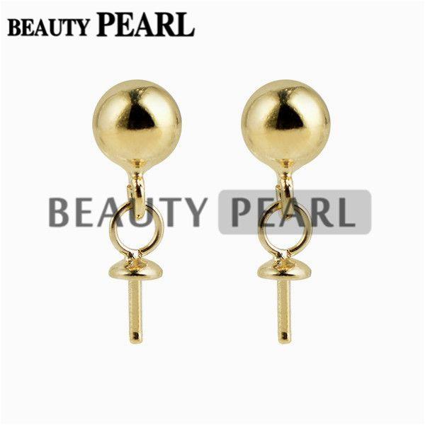 Wholesale Gold Vermeil 925 Sterling Silver Post Stud Earrings Findings 5mm Ball Dot Earrings Components