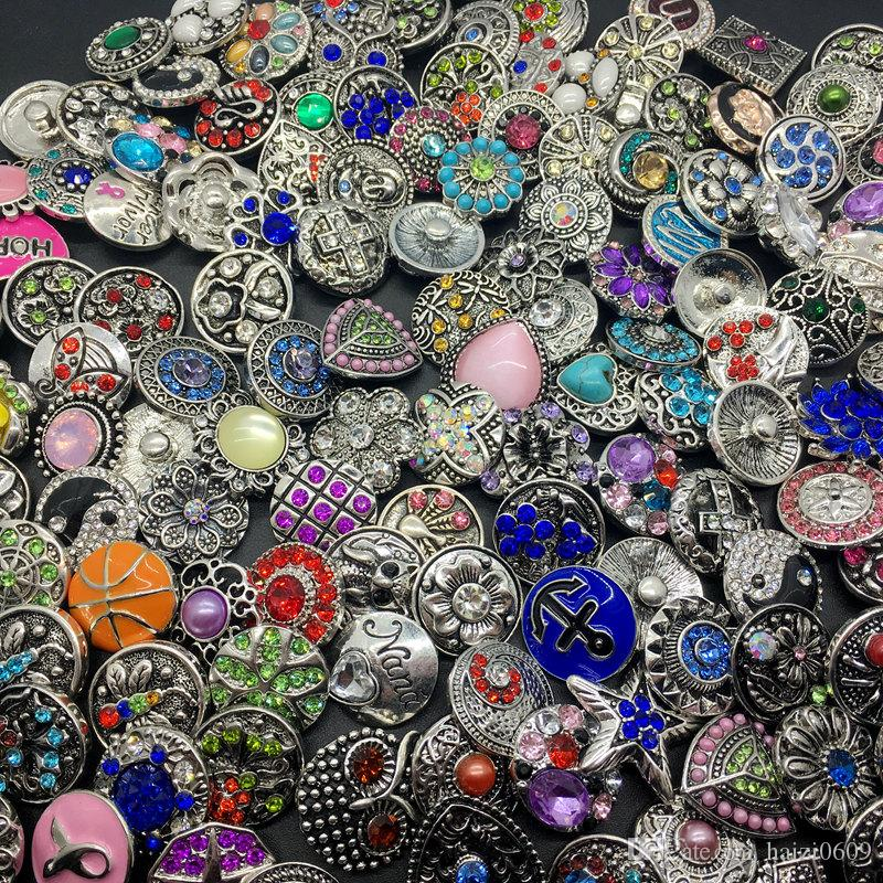 Venta al por mayor 50pcs / Lot Mix Style 18MM Snap Cham Button Interchangeable Diy Ginger Snap Jewelry Fit Snap Charm Bracelets Colgante Anillo Etc