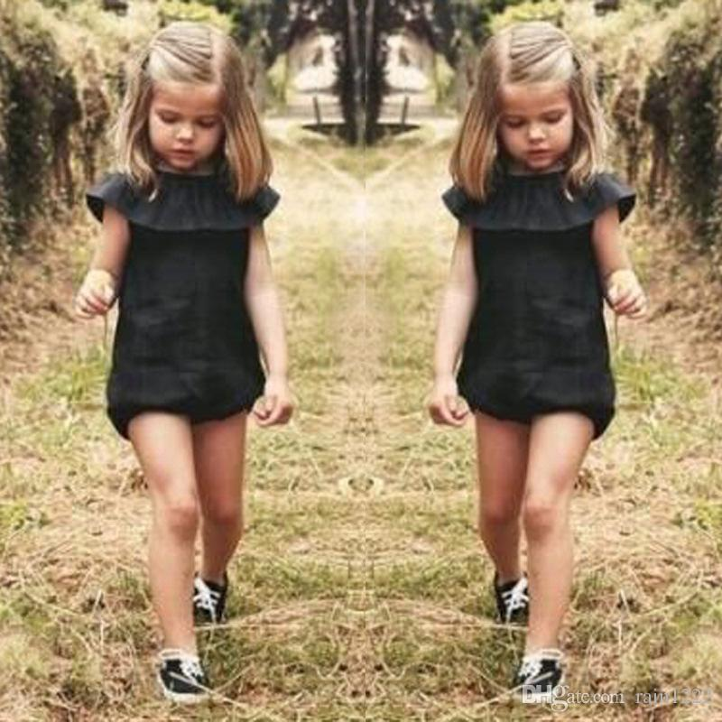 Baby Toddlers Onesies Rompers Jumpsuits For Children Kids Cotton Ruffles Black Briefs Rompers Jumpsuits Overalls Girls Princess Rompers Sets