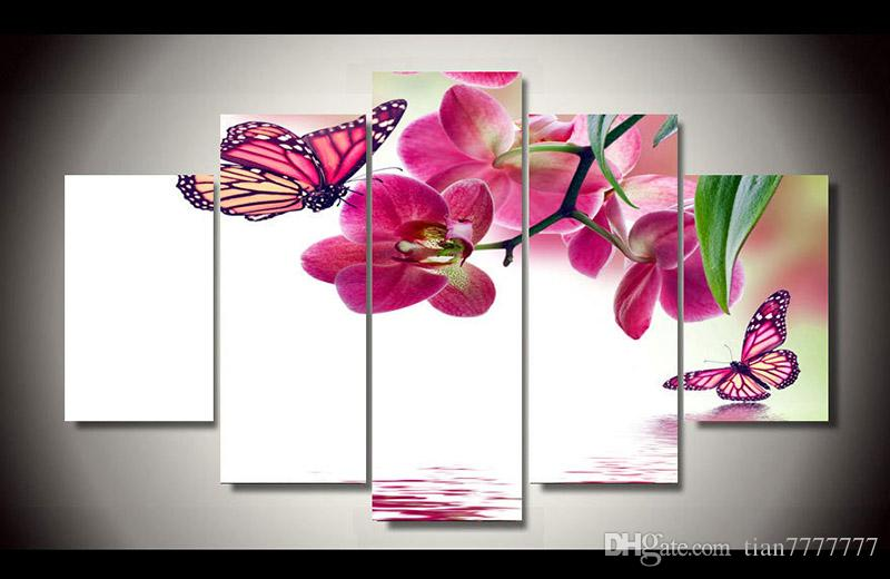New Flower Canvas Painting Butterfly Honeymoon Printing 5 Panel Modern Decorative Pictures Home Wall Art Decor Christmas Gift
