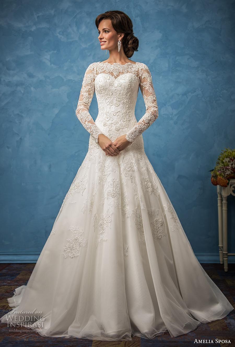 Vintage Lace Sheer Illusion 2018 Brautkleider A-Line Langarm Plus Größe Zug vestido de noiva Brautkleid Ball Für Braut