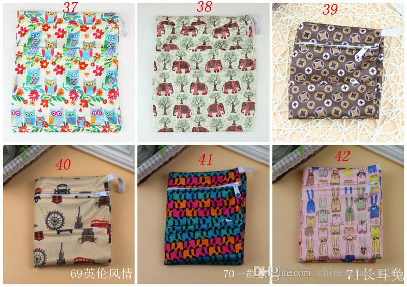 TPU Baby Printed Diaper Bag Two-end Zipper 73 designs Baby Wet Dry Diaper Organizer Nappy Stackers Waterproof