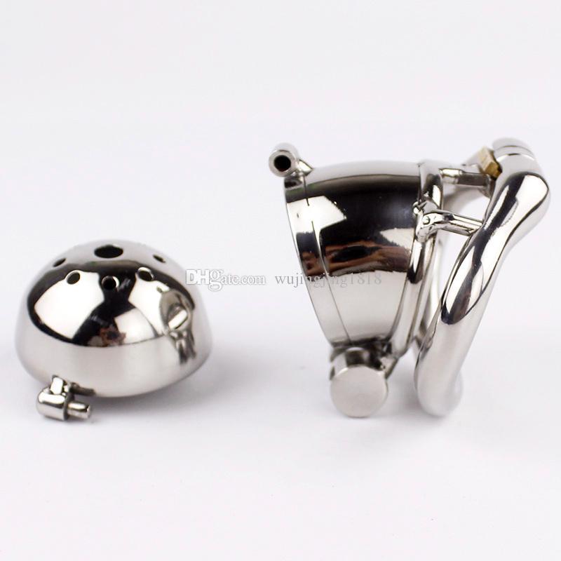 Doppelschloss Design Keuschheitsgerät Edelstahl Keuschheitskäfig Metall Penis Lock Keuschheit Penis Ring Geschlecht Spielt Für Männer