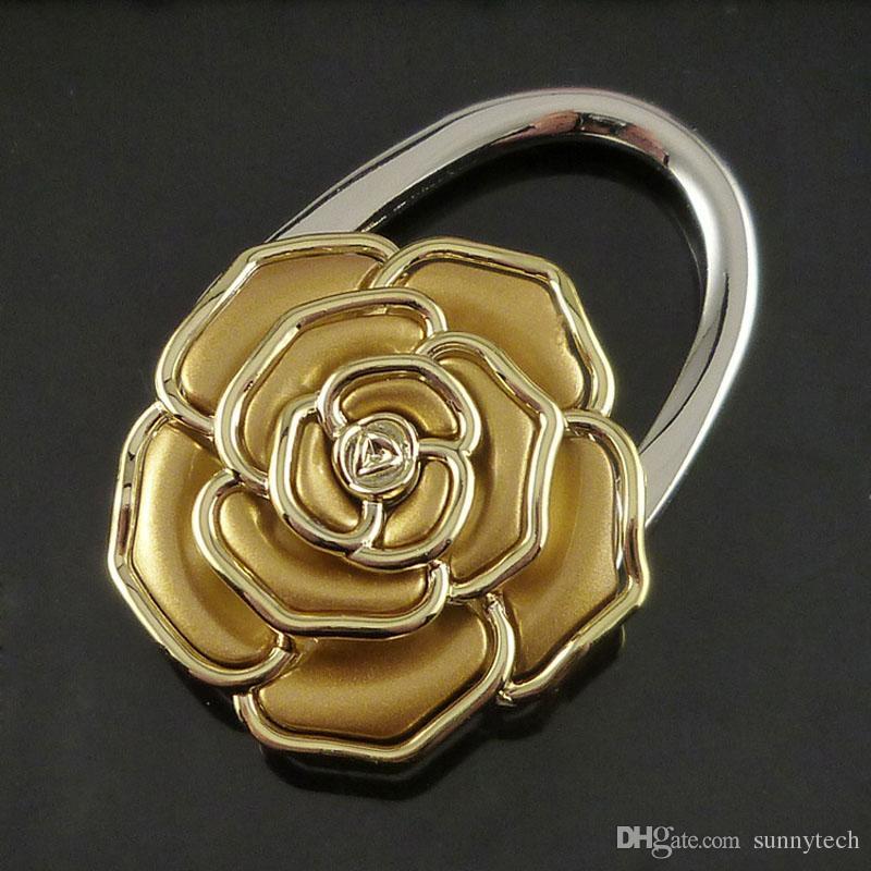 Práctico Colorido Flor de Rosa Portatil Plegable Portátil Bolso Bolsa Accesorios Conveniente Gancho de Mesa Titular de Suspensión ZA1585