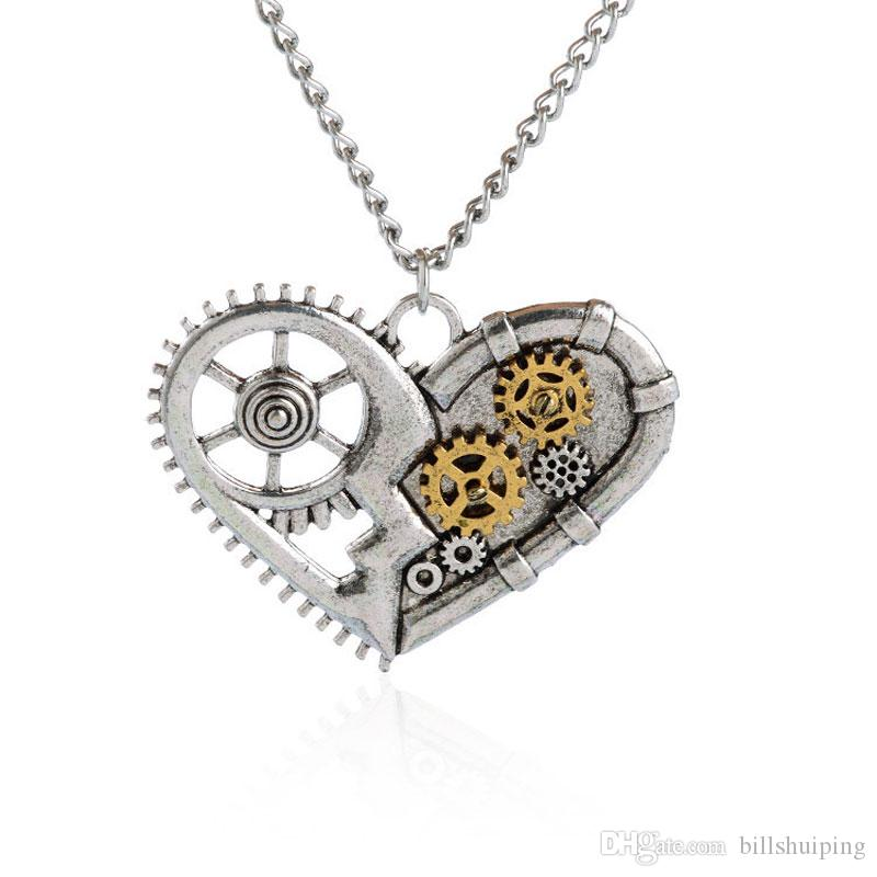 steampunk gear polished owl product fashions products image pendant necklace