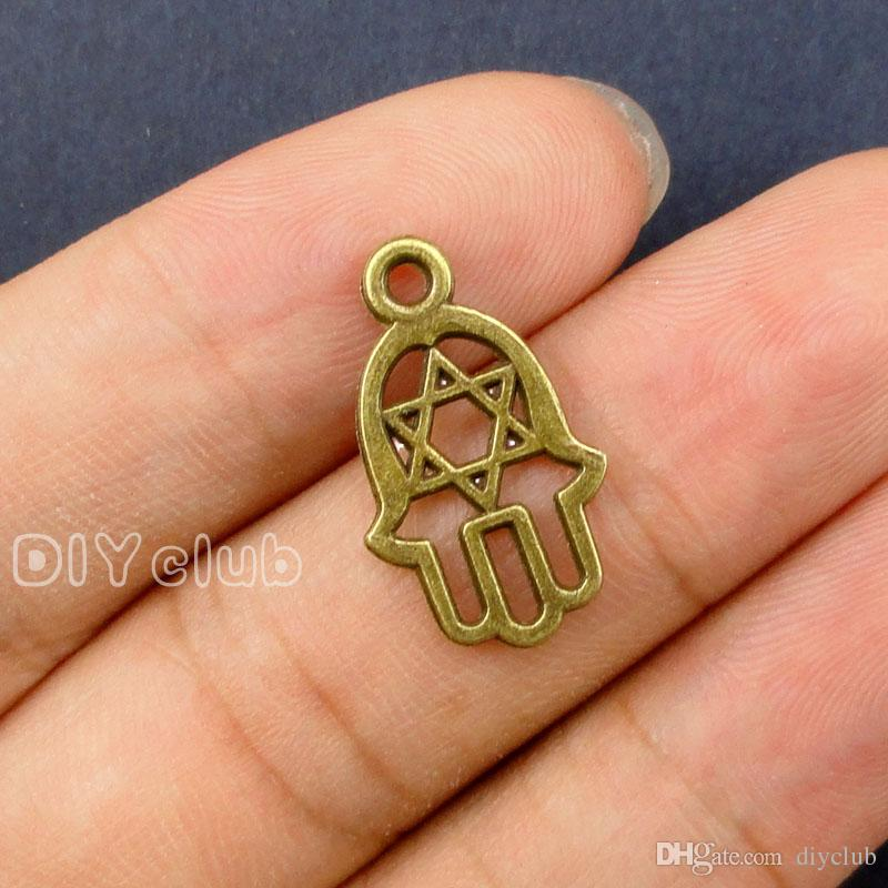 -Antique Silver Bronze 2 Sided Hamsa Hand With Star of David Hand Made Charms Pendant Lovely Connector DIY Jewelry Making