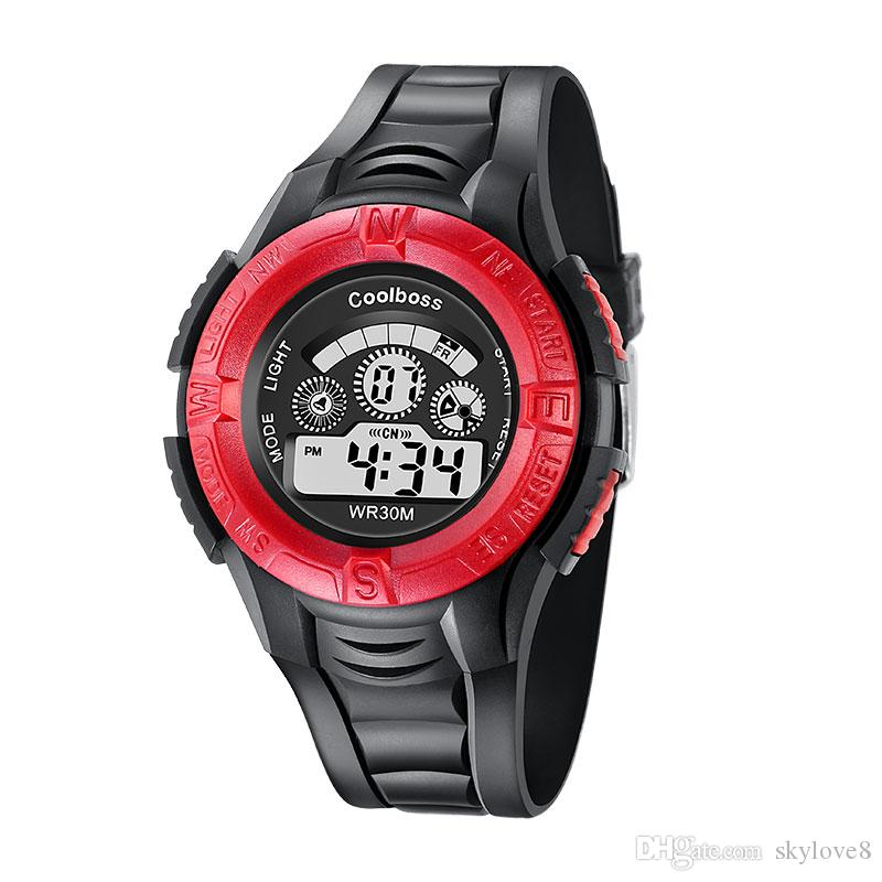 0905Coolboss multifunción para niños relojes electrónicos es Luminoso reloj despertador calendario hora unisex relojes deportivos niño mejor regalo