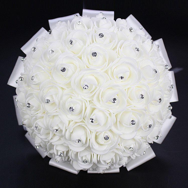 2019 Hot Sales Cheap Rose Artificial Bridal Flowers Bride Bouquet Wedding Bouquet Crystal Ivory Silk Ribbon New Buque De Noiva