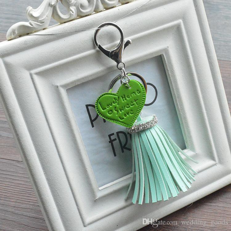 New arrival Creative heart-shaped PU tassel key chain leather key ring bag car ornaments KR316 Keychains a