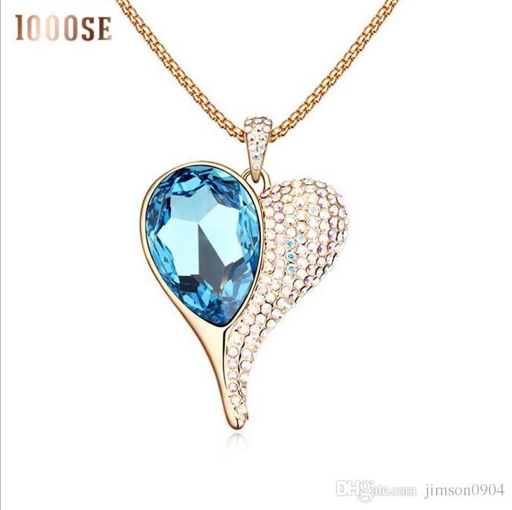 2017 neue Eine echte SWAROVSKI kristall elemente mit high-end-mode pullover kette herz licht fee Lange Halskette verkauf
