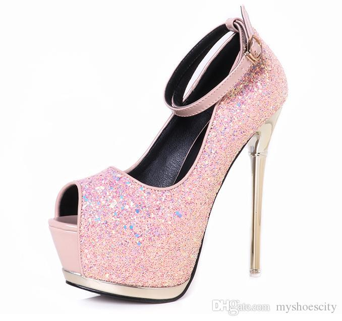 ae294b24a95a Sparkly Pink Silver High Heels Peep Toe Ankle Strap Platform Pumps Women  Wedding Shoes Runway Show Size 34 To 39 Mens Dress Boots Men Sandals From  ...