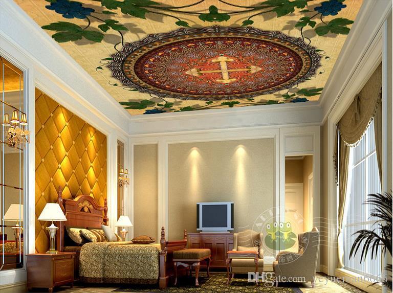 custom 3d modern ceiling Circle mandala pattern grapes wallpapers for living room 3d ceiling murals wallpaper european