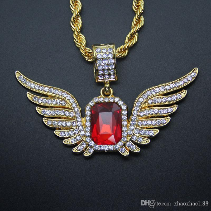 Hip Hop Necklace 18k Gold Plated Red Ruby Wing Fully CZ Pendant Rope Chain 30""