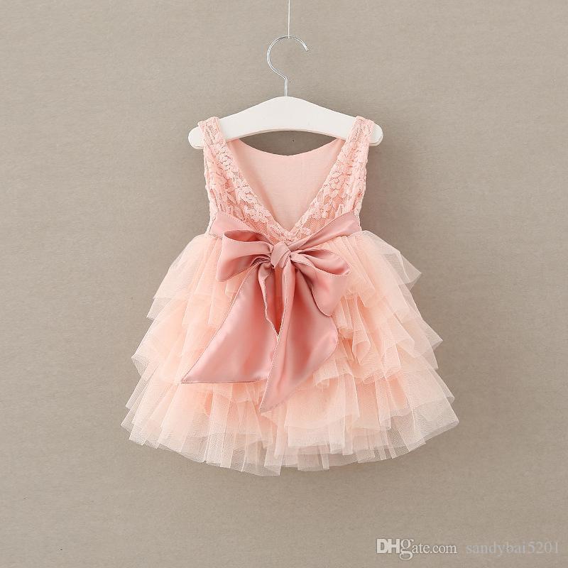 Çocuklar Kızlar Gül Dantel Elbiseler 2017 Yaz Bebek Kız Pembe Fırfır Elbise Bebek Prenses Yay Çiçek Parti Elbise Bebekler Toptan Giyim S518