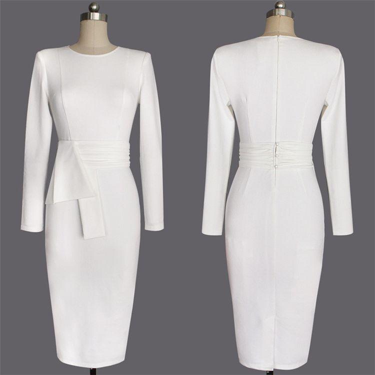 Spring Autumn Women Elegant Dress Kim Kardashian Solid White O-Neck Work Office Business Sexy Career Stretch Bodycon Plus Size Dress XZ-14