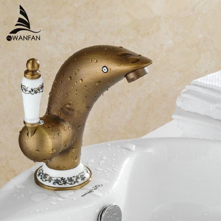 2018 New Dolphin Basin Faucet Brass Bathroom Antique Brass ...