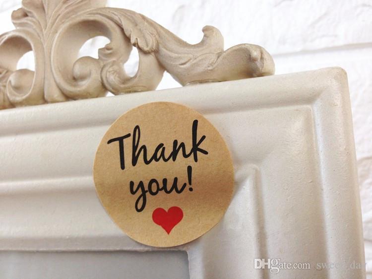Craft Papier Herz Dekoration danken Ihnen dekorative Dichtungs Paster Bäckerei-Paket-Aufkleber Geschenktüte Box Aufkleber Bevorzugungen Aufkleber