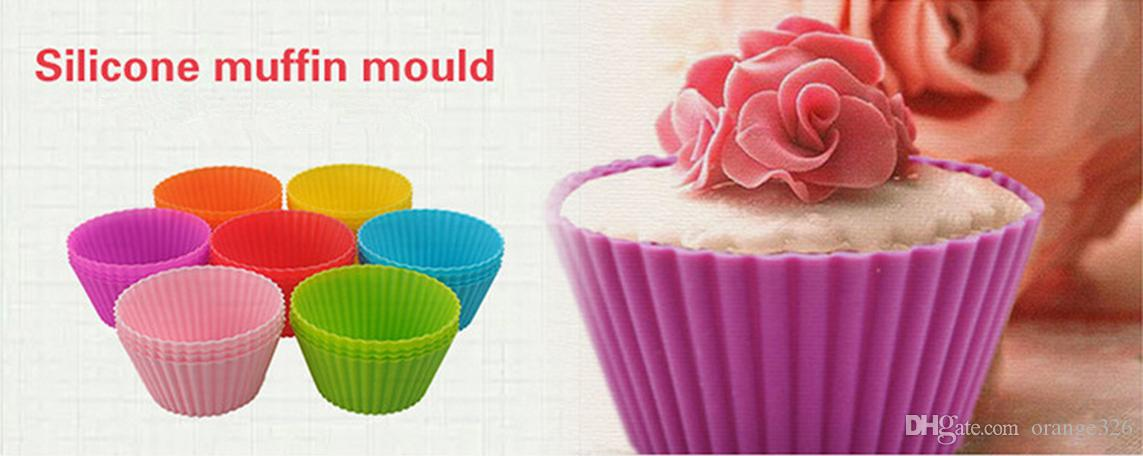7 CM Ronde Silicone Muffin Cupcake Liners Cas 8 Couleurs Coupe Gâteau Outils Bakeware Cuisson Pâtisserie Outils Gâteau Moule